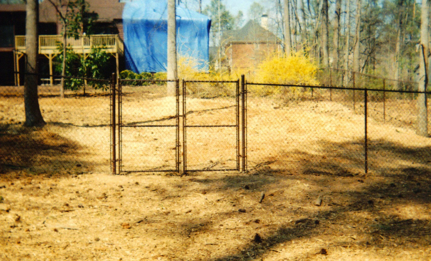 Black Vinyl Chain Link Double Gate Affordable Fence