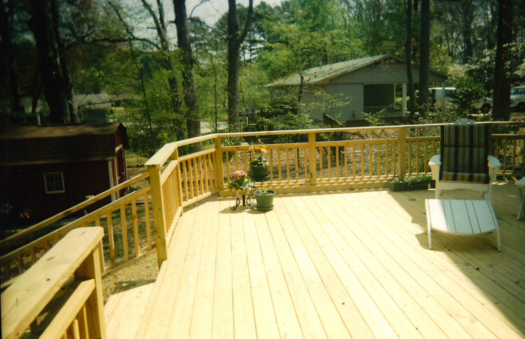 deck with custom handrail design   affordable fence